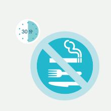 タバコ、食事を30分前から禁止する画像