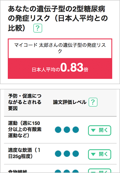 MYCODEのスマートフォンの結果画面の画像